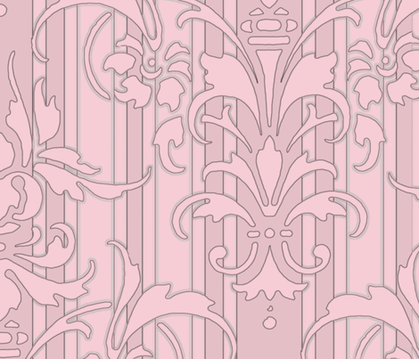 Pink Dawn ~ Pink Damask Stripe III fabric by peacoquettedesigns on Spoonflower - custom fabric