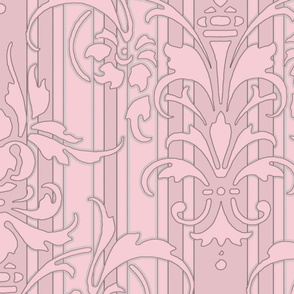 Pink Dawn ~ Pink Damask Stripe III