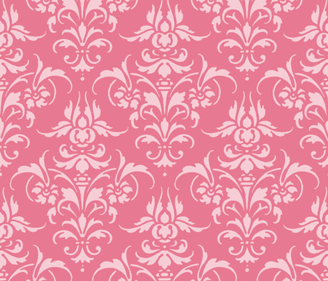 Pink Dawn ~ Pink Damask II fabric by peacoquettedesigns on Spoonflower - custom fabric