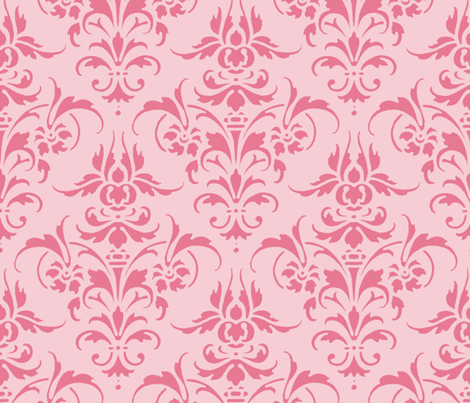Pink Dawn ~ Pink Damask fabric by peacoquettedesigns on Spoonflower - custom fabric