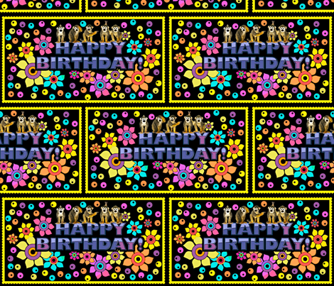 Happy Birthday w/Monkeys fabric by whimzwhirled on Spoonflower - custom fabric