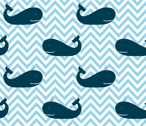Whales on Chevron Waves fabric by richardrainbolt on Spoonflower - custom fabric