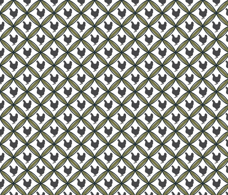 Diamond Hen green fabric by mayacoa on Spoonflower - custom fabric