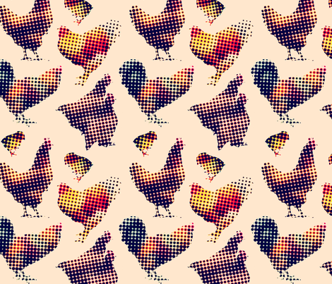 Chicken Halftone fabric by primenumbergirl on Spoonflower - custom fabric