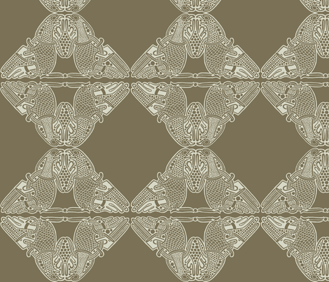 Celtic Birds white on beige fabric by susiprint on Spoonflower - custom fabric