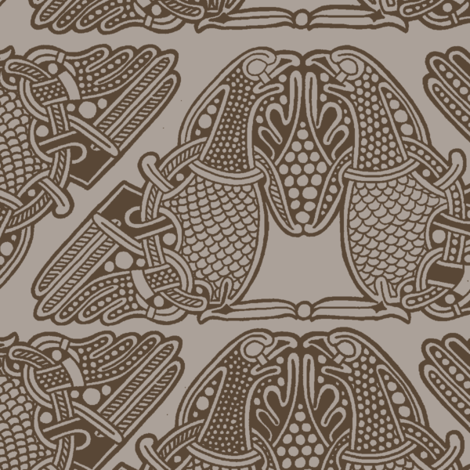 celtic birds brown on beige fabric by susiprint on Spoonflower - custom fabric