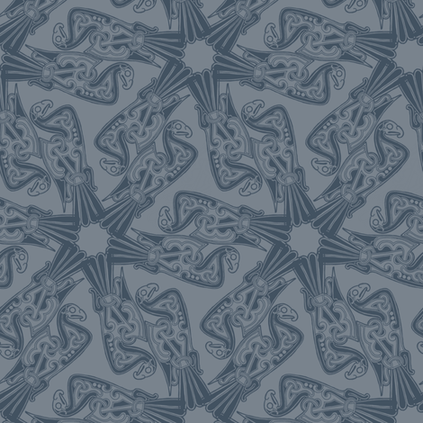 Nordic Bird Blue on Blue fabric by susiprint on Spoonflower - custom fabric