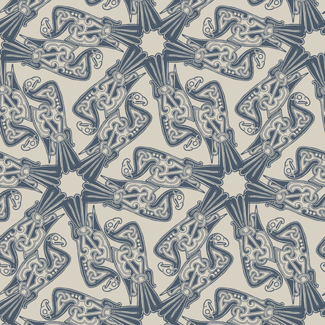 Nordic Bird Blue on Beige fabric by susiprint on Spoonflower - custom fabric