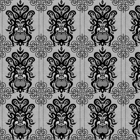 Medusa's Damask fabric by marchhare on Spoonflower - custom fabric