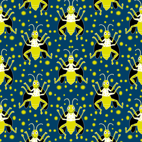 Firefly Jitterbug eclectic fabric by eclectic_house on Spoonflower - custom fabric