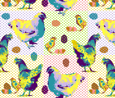 Pop Art Chickens fabric by dianne_annelli on Spoonflower - custom fabric