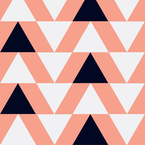 black and white triangles on coral fabric by mintpeony on Spoonflower - custom fabric