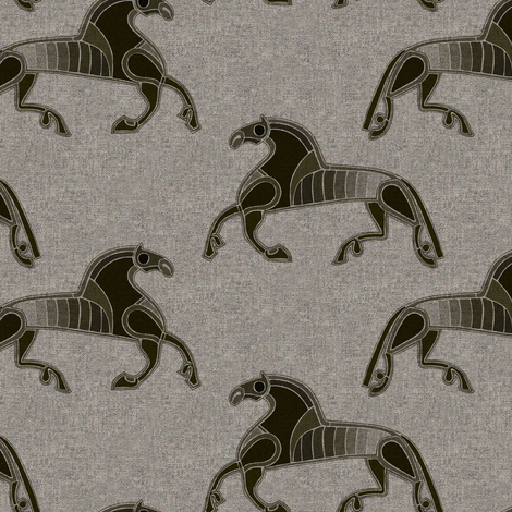 Nordic Horse brown on texture fabric by susiprint on Spoonflower - custom fabric