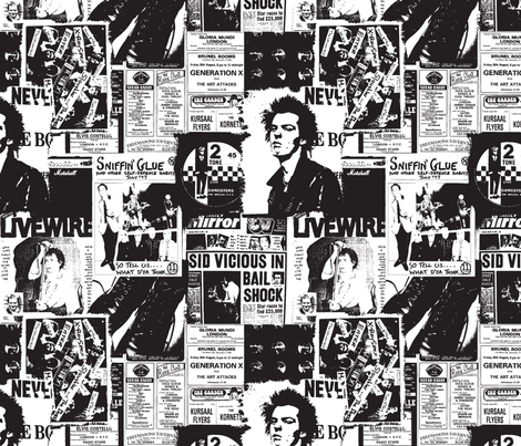 punk rock black and white fabric by sydama on Spoonflower - custom fabric