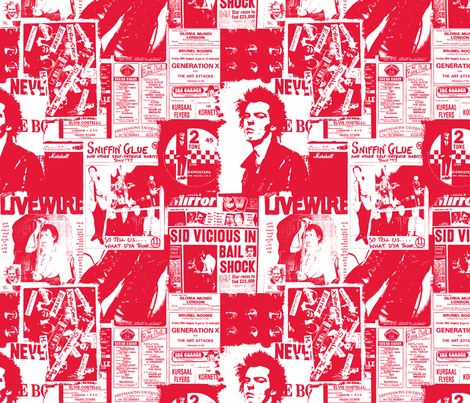 punk rock red and white fabric by sydama on Spoonflower - custom fabric