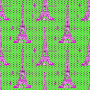 Eiffel tower pink lime
