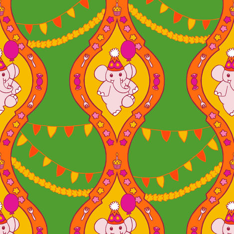 Bollywood Birthday (Green) fabric by aimee on Spoonflower - custom fabric