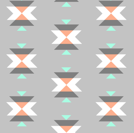 tribal grey fabric by >>mintpeony<< on Spoonflower - custom fabric