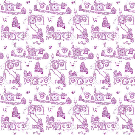 Purple Shire Toile fabric by spikymammal on Spoonflower - custom fabric