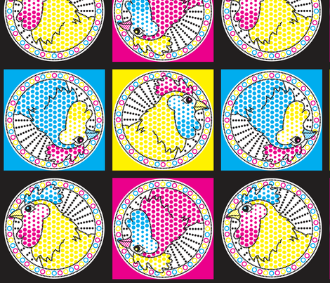 CMYK Pop Chickens fabric by katrinazerilli on Spoonflower - custom fabric