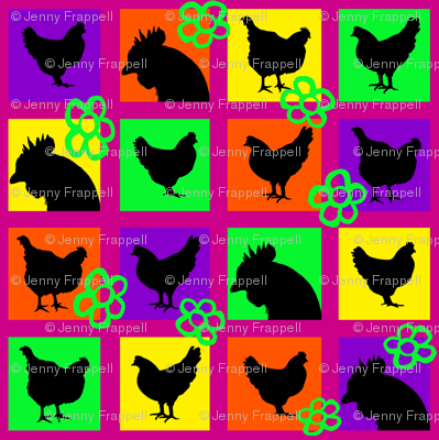 Pop Art Chickens for Lisa © Indigodaze2013