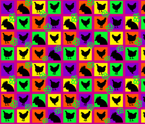 Pop Art Chickens for Lisa © Seasparkles 2013 fabric by seasparkles on Spoonflower - custom fabric