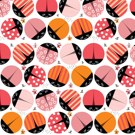 bugs - pink fabric by laura_the_drawer on Spoonflower - custom fabric