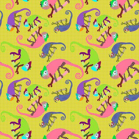 Karma Chameleon yellow fabric by susiprint on Spoonflower - custom fabric