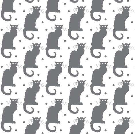 Le Chat Noir in grey on dotted white