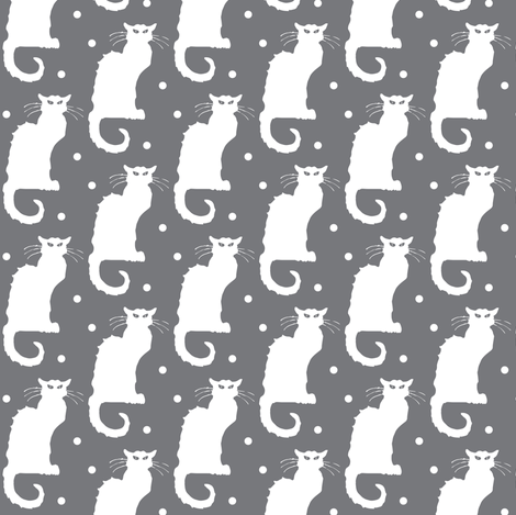 Le Chat Noir White Cat on Dotted Grey fabric by bohobear on Spoonflower - custom fabric