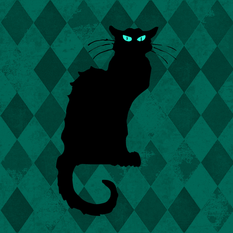 Le Chat Noir Black Cat Green Harlequin Diamond fabric by bohobear on Spoonflower - custom fabric