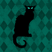 Le Chat Noir Black Cat Green Harlequin Diamond