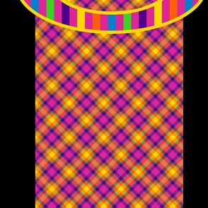 Rainbow Stripes on Plaid and Black