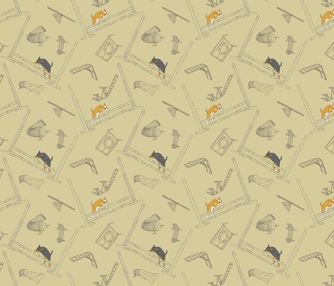 Agility Chihuahuas - khaki fabric by rusticcorgi on Spoonflower - custom fabric