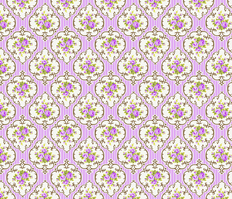 Fresh Grape stripe Cameo Roses fabric by parisbebe on Spoonflower - custom fabric