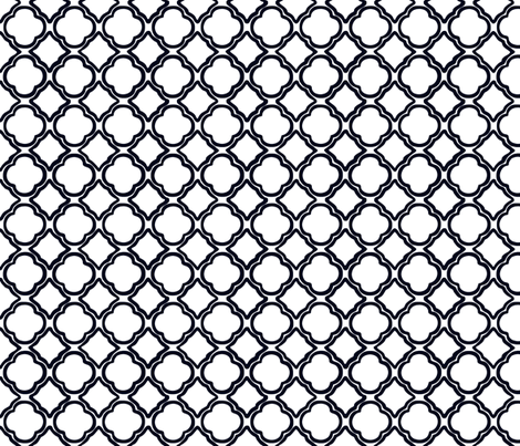 Trellis Cottage Black fabric by lulabelle on Spoonflower - custom fabric
