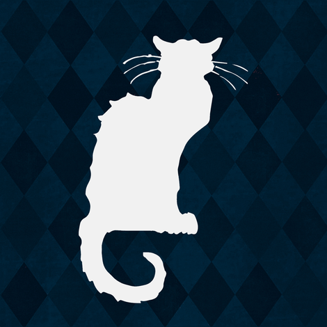 Le Chat Noir in White on Blue Harlequin fabric by bohobear on Spoonflower - custom fabric