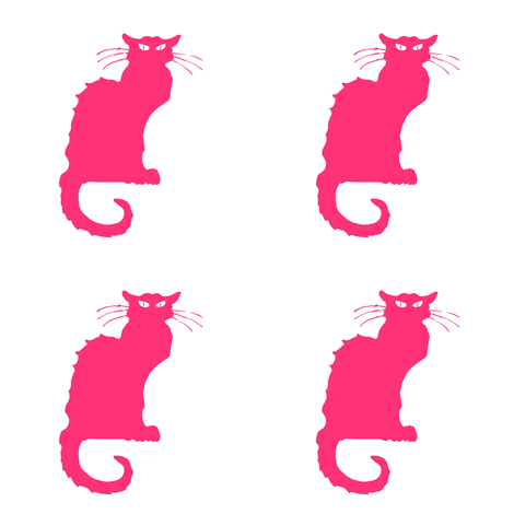 Le Chat Noir Hot Pink & White fabric by bohobear on Spoonflower - custom fabric