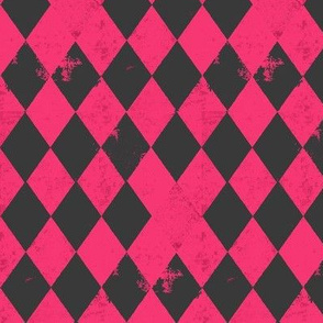 Hot Pink & Dark Grey Harlequin Diamond