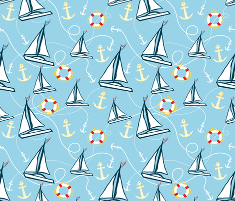 Sailboats fabric by taramcgowan on Spoonflower - custom fabric