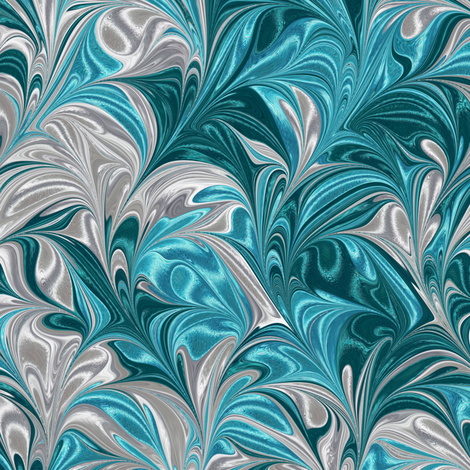 Metallic-SilverAquaTeal-Swirl fabric by modernmarblingdesign on Spoonflower - custom fabric