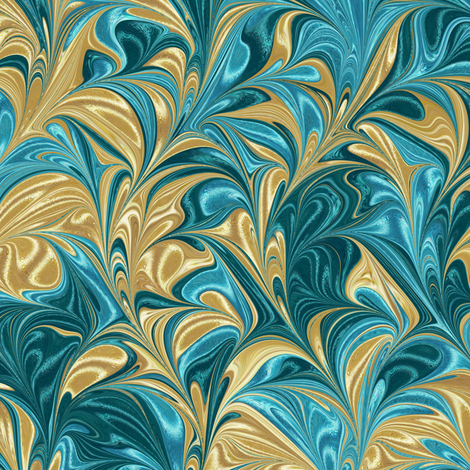 Metallic-GoldAquaTeal-Swirl fabric by modernmarblingdesign on Spoonflower - custom fabric