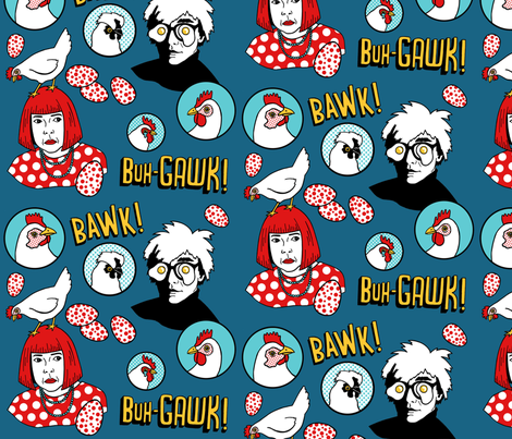 Warhol and Kusama with chickens fabric by agnesbartonsabo on Spoonflower - custom fabric