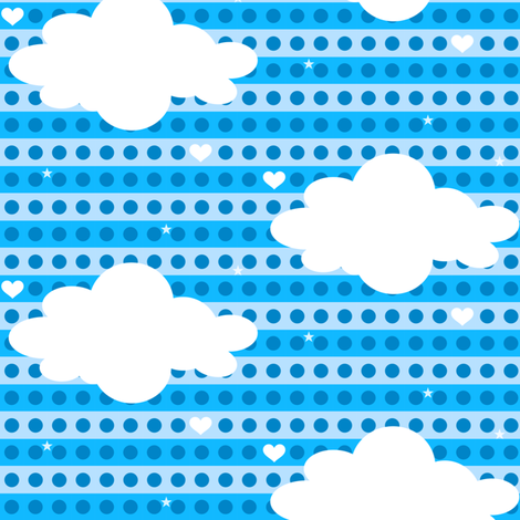 Heavenly Clouds! - Chompa Chompa - 8BitHeaven  - © PinkSodaPop 4ComputerHeaven.com fabric by pinksodapop on Spoonflower - custom fabric
