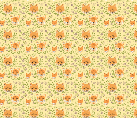 Foxes and Flowers fabric by vinpauld on Spoonflower - custom fabric