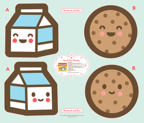 "Cut-&-Sew Plushie: 14"" Milk & Cookie fabric by wanart on Spoonflower - custom fabric"