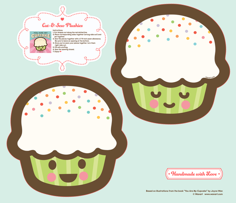 "Cut-&-Sew Plushie: 9"" Cupcake fabric by wanart on Spoonflower - custom fabric"