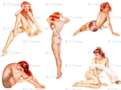 Redhead Pin Up Fabric Miss Motley Spoonflower