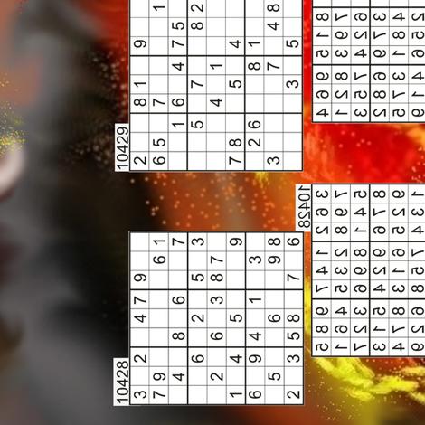 Flaming Sudoku fabric by ladyfayne on Spoonflower - custom fabric