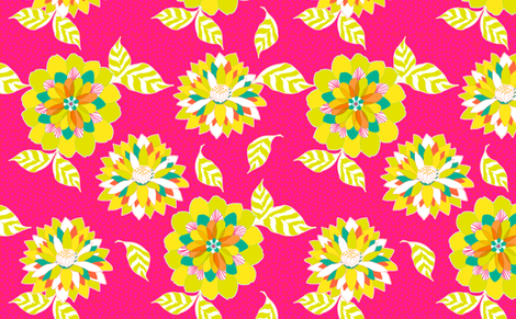 Pink Flower Fireworks fabric by sandeehjorth on Spoonflower - custom fabric